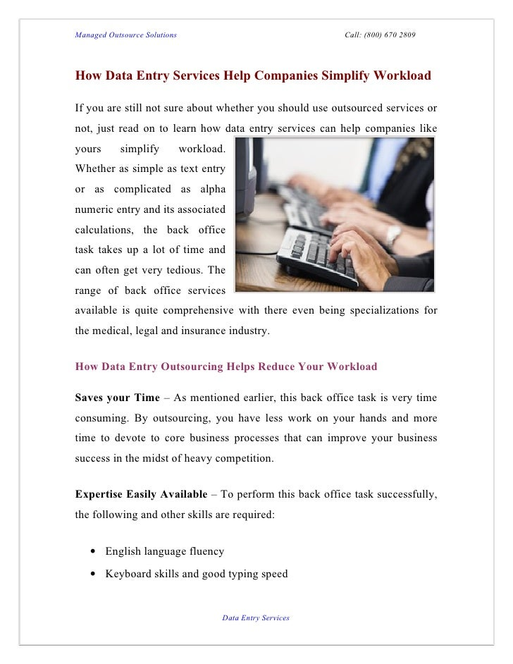 Managed Outsource Solutions                                 Call: (800) 670 2809How Data Entry Services Help Companies Sim...