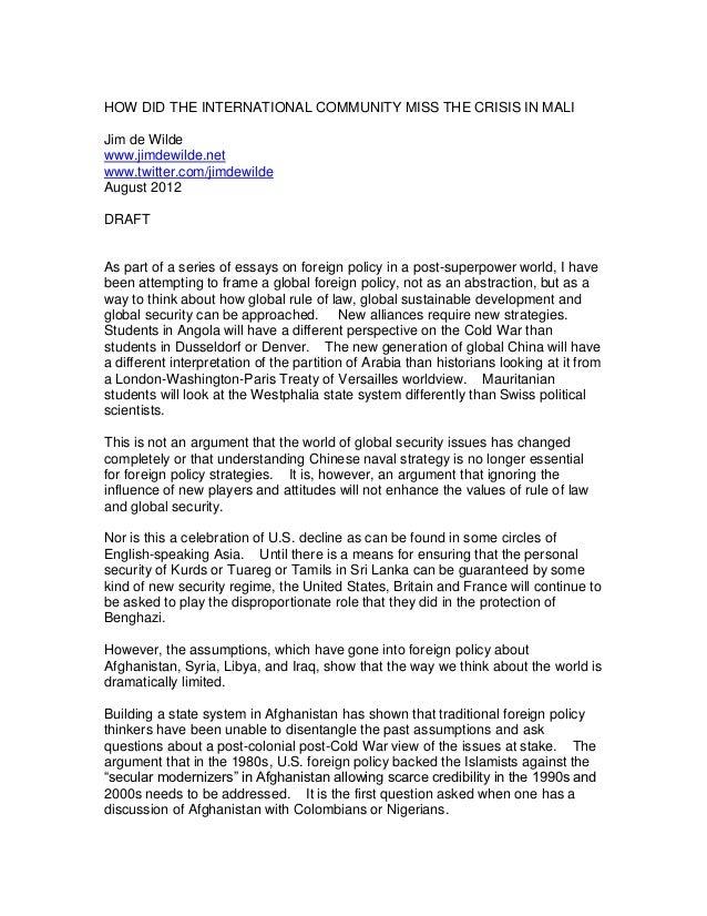 HOW DID THE INTERNATIONAL COMMUNITY MISS THE CRISIS IN MALIJim de Wildewww.jimdewilde.netwww.twitter.com/jimdewildeAugust ...