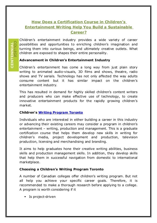 How does a certification course in childrens entertainment writing help you build a sustainable career