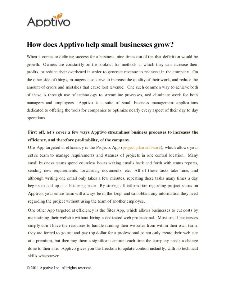How does Apptivo help small businesses grow?When it comes to defining success for a business, nine times out of ten that d...