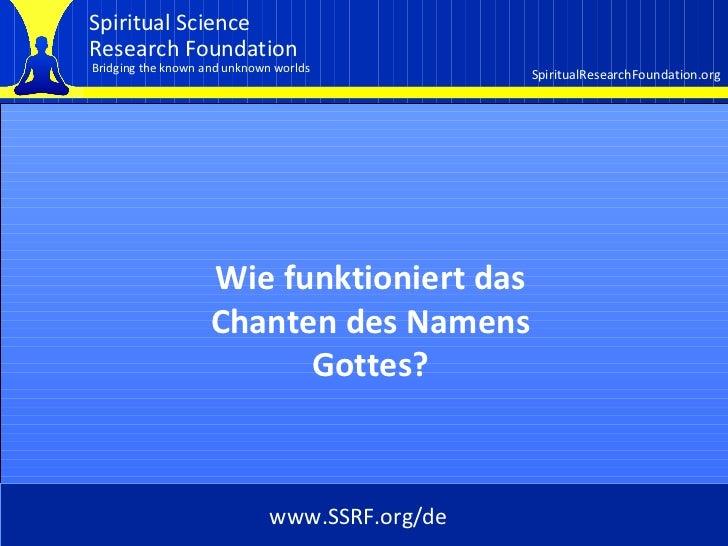 Cover Wie funktioniert das Chanten des Namens Gottes? www.SSRF.org/de