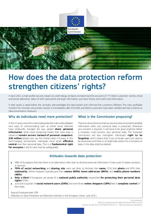 EN  How does the data protection reform strengthen citizens' rights? In April 2011 a high-profile security breach at a tec...