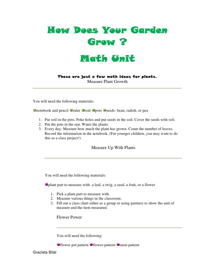 How Does Your Garden Grow Math Unit