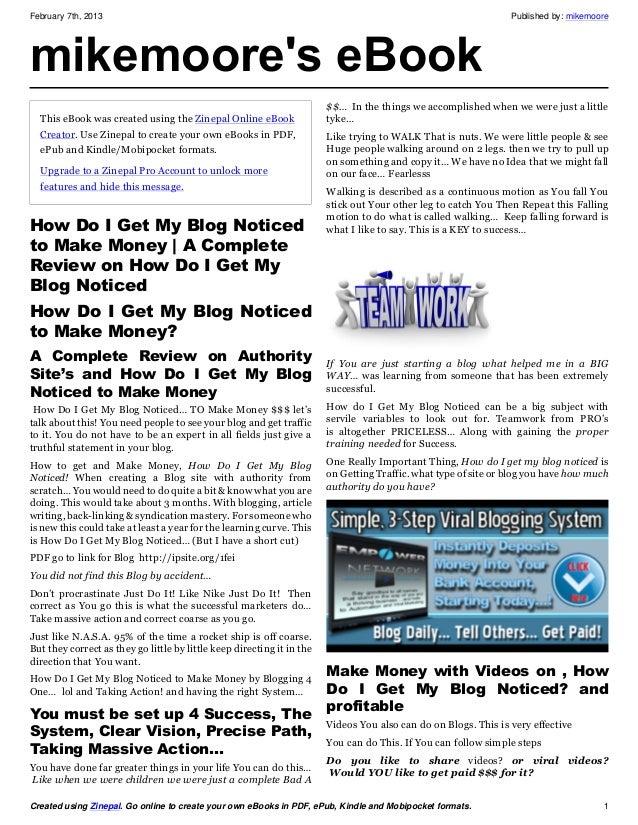 How do i get my blog noticed to make money