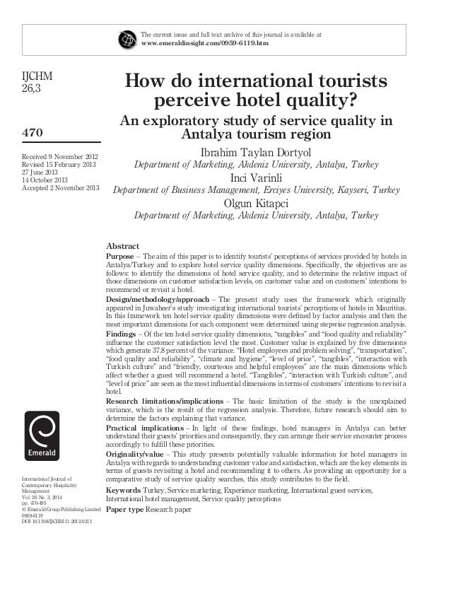 How do international tourists perceive hotel quality an exploratory study of service quality in antalya tourism region