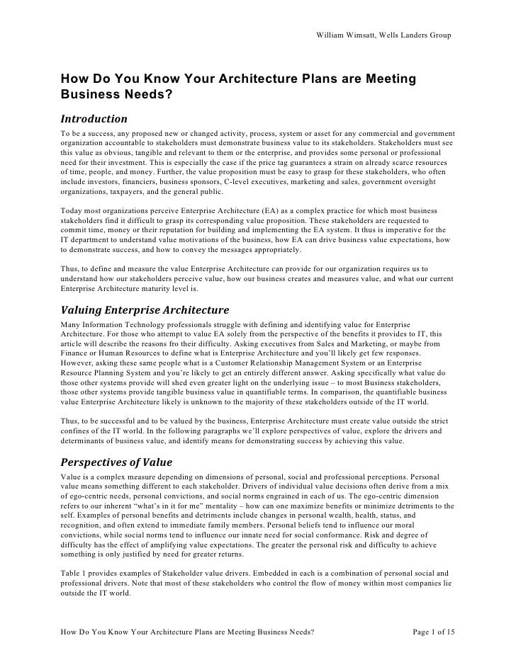 How do you know your architecture plans are meeting business needs