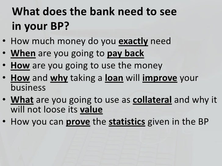 Business plan for a bank
