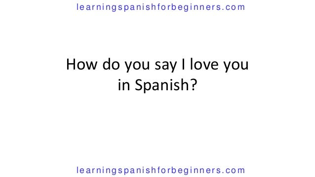 I Love You In Spanish How do you say i love ...