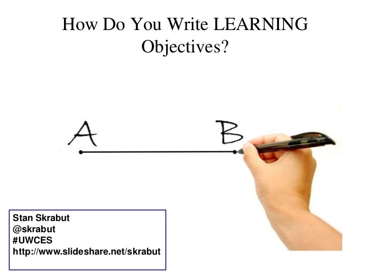 How Do You Write LEARNING Objectives?<br />Stan Skrabut<br />@skrabut<br />#UWCES<br />http://www.slideshare.net/skrabut<b...