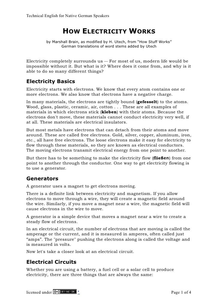 Technical English for Native German Speakers                      HOW ELECTRICITY WORKS           by Marshall Brain, as mo...