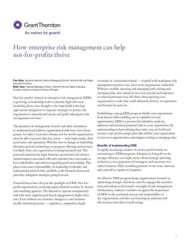 How enterprise risk management (ERM) can help not for-profits thrive