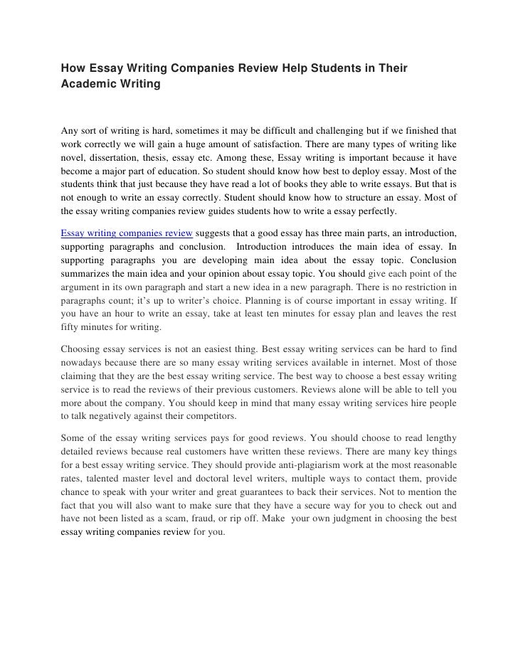 best essay services reviews Finding the best essay writing services as a rule, best essay writing services introduce a team of writers and editors who are specialist in writing any type of academic assignments you will not be able to evaluate the quality until you place the order.