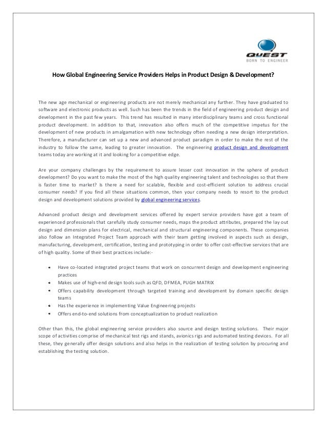 How Global Engineering Service Providers Helps in Product Design & Development?  The new age mechanical or engineering pro...