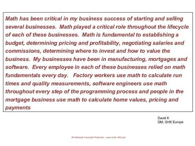 How is business related to math?