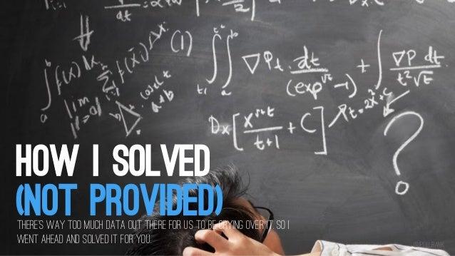 How i Solved Not Provided