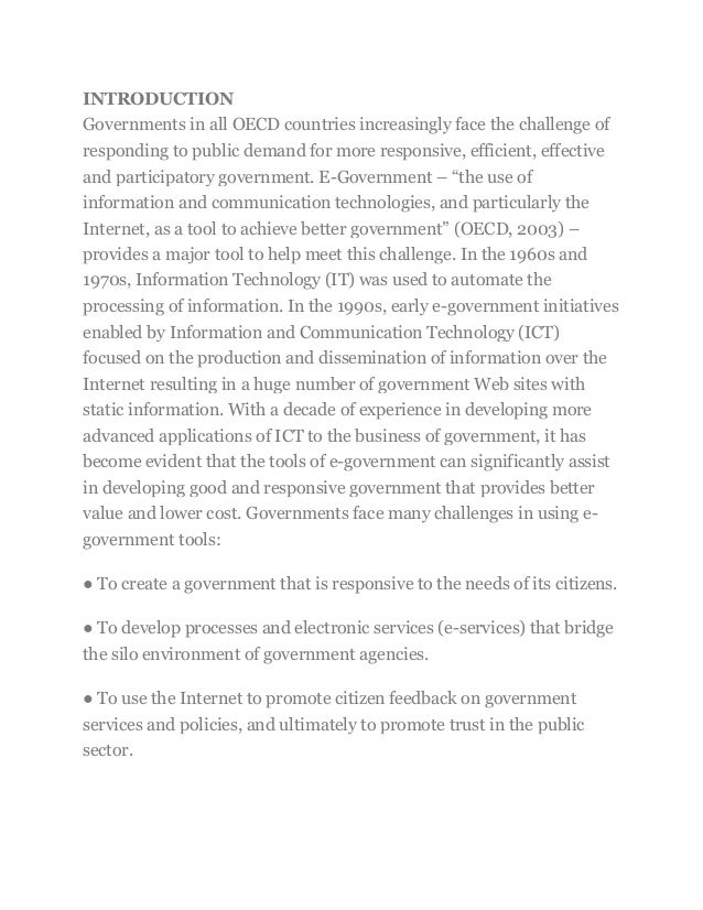 INTRODUCTION Governments in all OECD countries increasingly face the challenge of responding to public demand for more res...