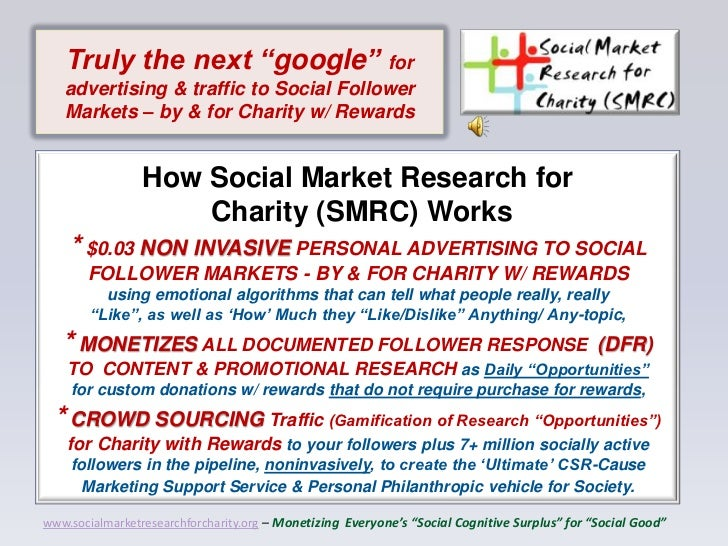 "Truly the next ""google"" for   advertising & traffic to Social Follower   Markets – by & for Charity w/ Rewards            ..."