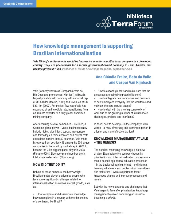How Knowledge Management Is Supporting Brazilian Internationalization