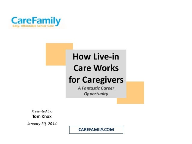 How Live-in Care Works for Caregivers A Fantastic Career Opportunity  Presented by:  Tom Knox January 30, 2014  CAREFAMILY...