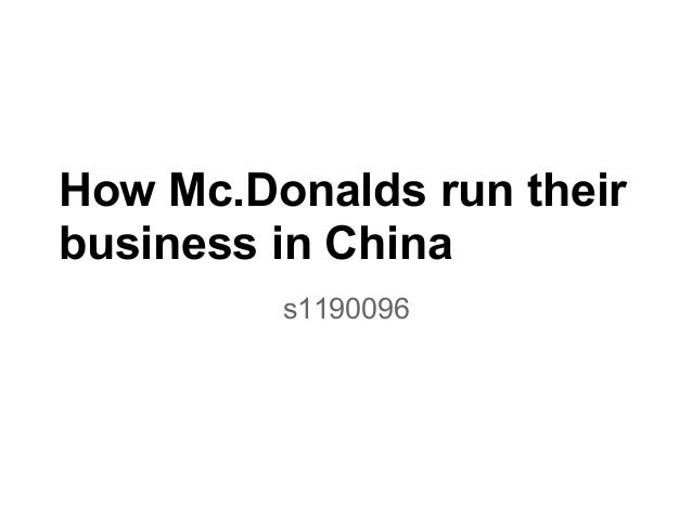 How mc.donalds run their business in china