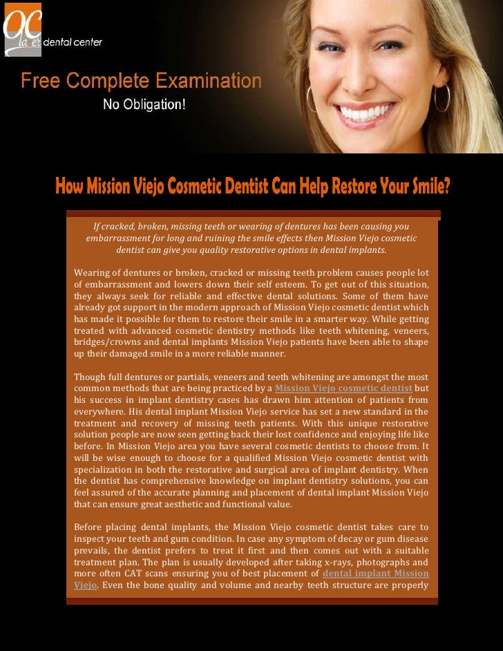 How Mission Viejo Cosmetic Dentist Can Help Restore Your Smile?