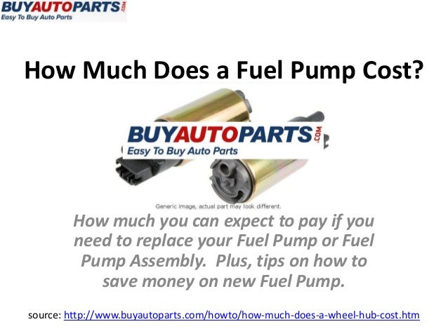 How Much Does a Fuel Pump Cost?source: http://www.buyautoparts.com/howto/how-much-does-a-wheel-hub-cost.htmHow much you ca...