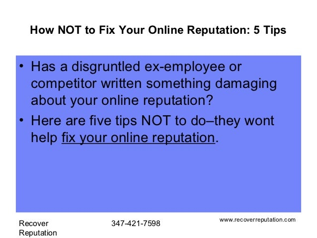 How not to fix your online reputation