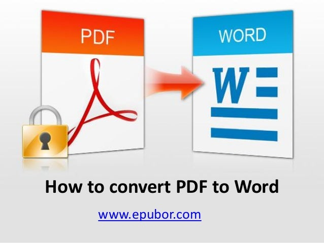 How ot convert pdf to word
