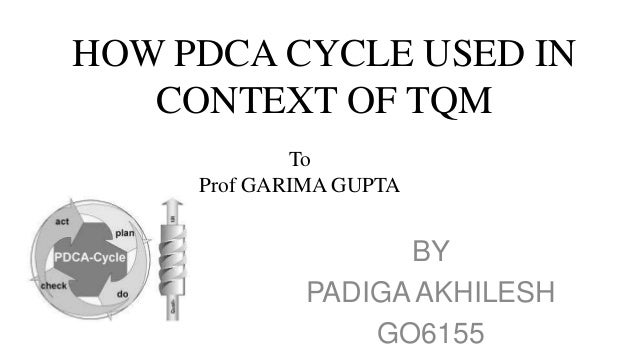 HOW PDCA CYCLE USED IN   CONTEXT OF TQM             To     Prof GARIMA GUPTA                   BY             PADIGA AKHIL...