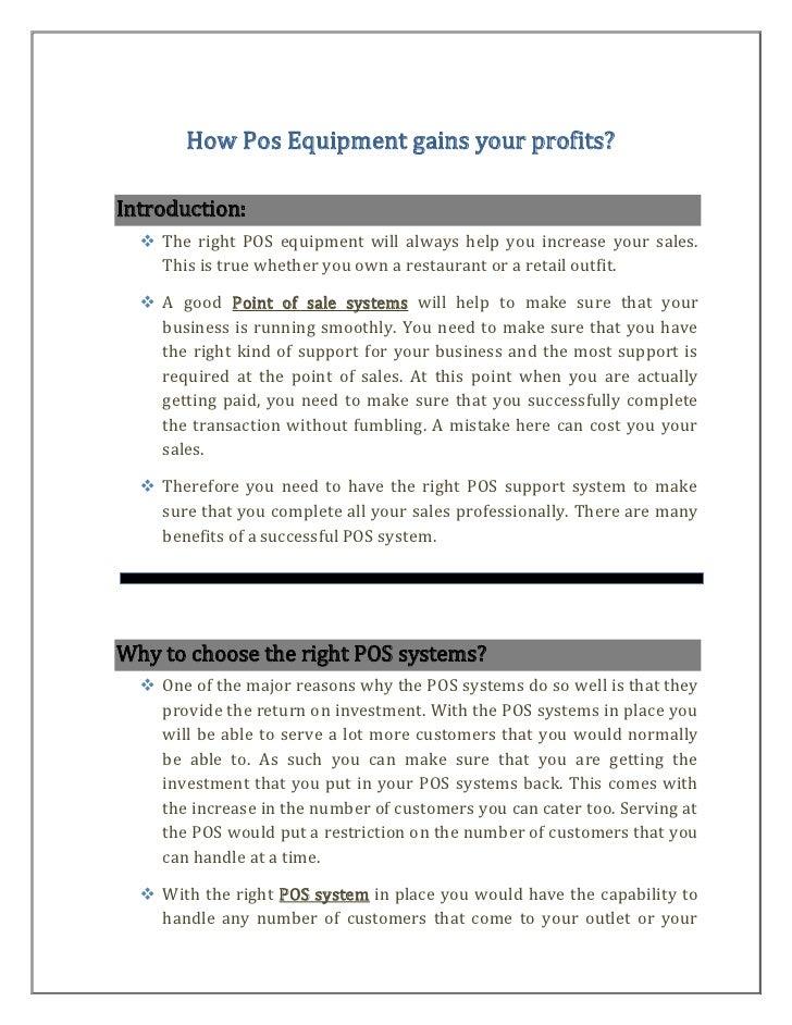 How pos equipment gains your profits
