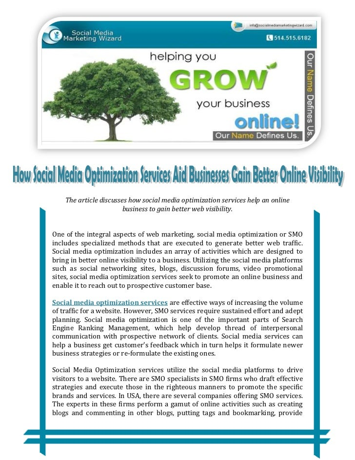 The article discusses how social media optimization services help an online                        business to gain better...