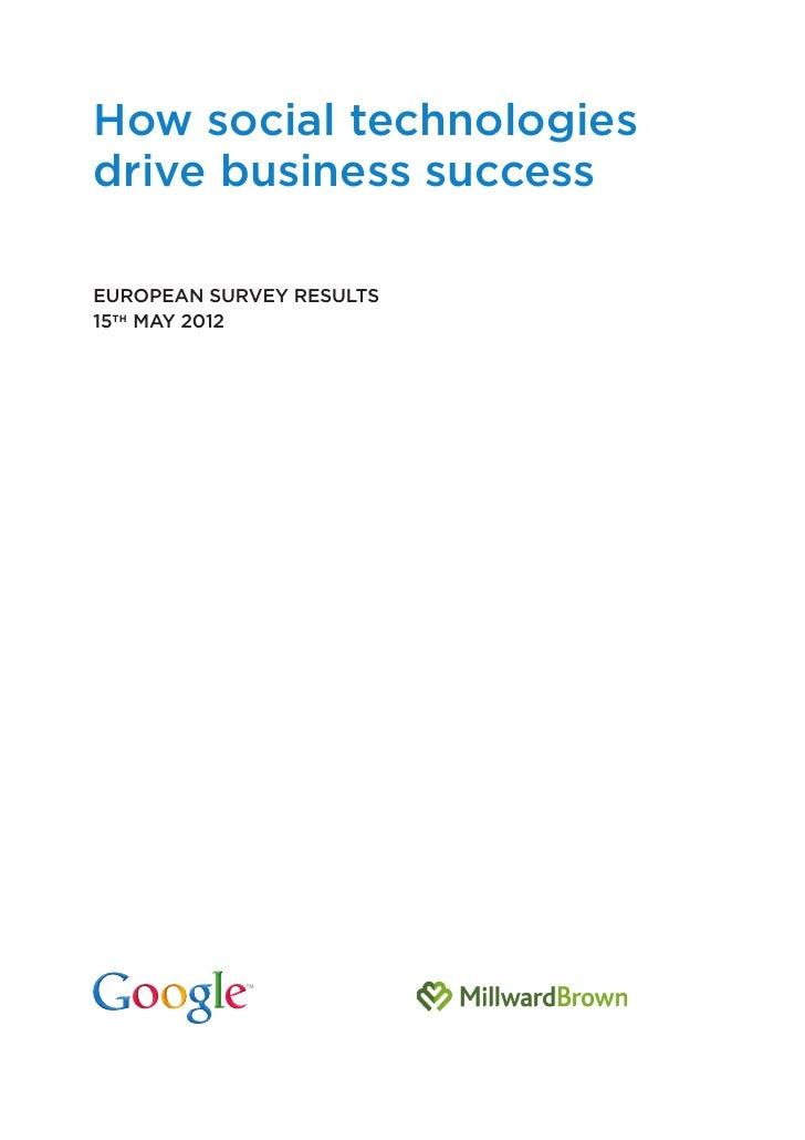 How social technologies drives business success - Google - Millward Brown - Mai 2012