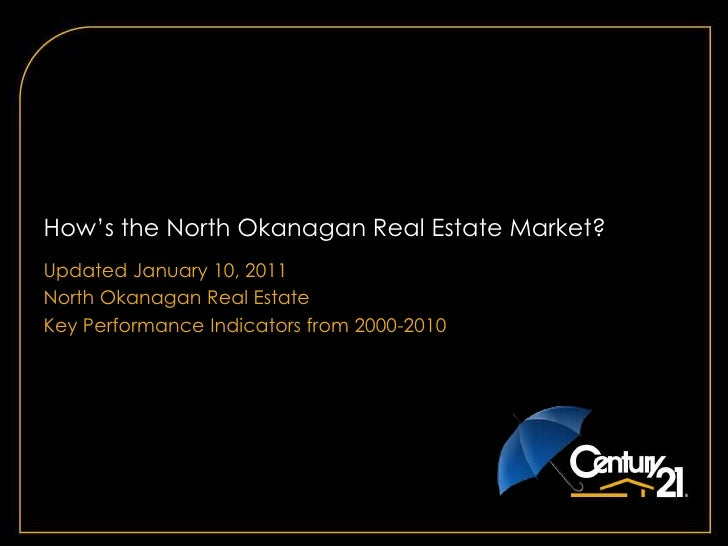 How's the North Okanagan Real Estate Market?  Updated January 10, 2011 North Okanagan Real Estate Key Performance Indicato...