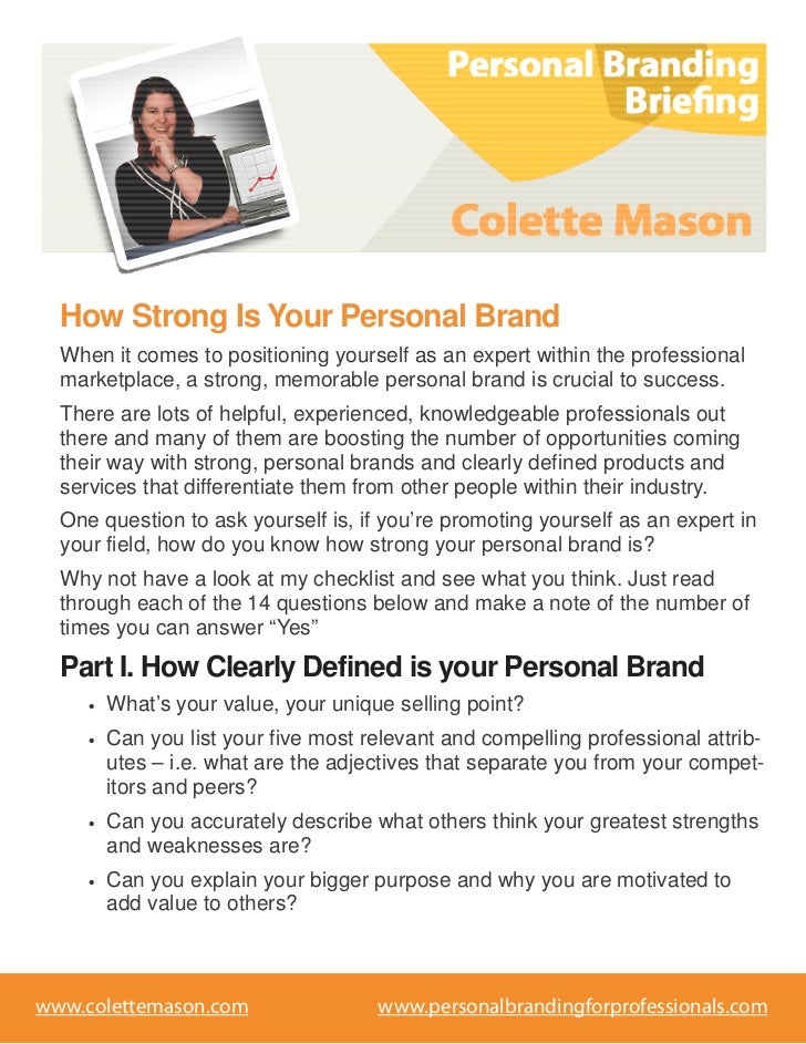 How Strong Is Your Personal Brand  When it comes to positioning yourself as an expert within the professional  marketplace...