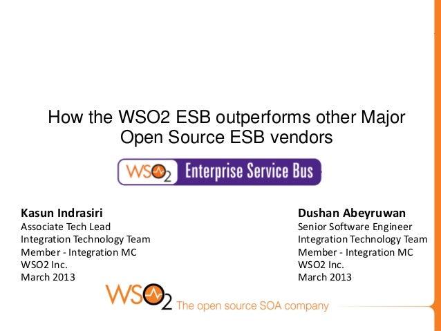 How the WSO2 ESB outperforms other Major             Open Source ESB vendorsKasun Indrasiri                 Dushan Abeyruw...