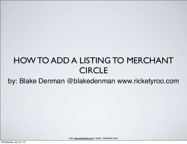 How To Add A Listing To Merchant Circle