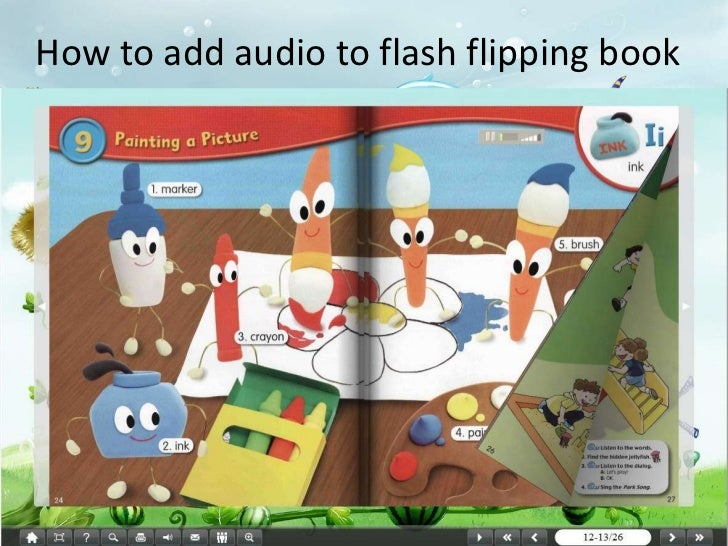 How to add audio to flash flipping comic book