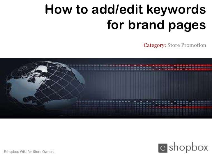 How to add or edit keywords for brand pages