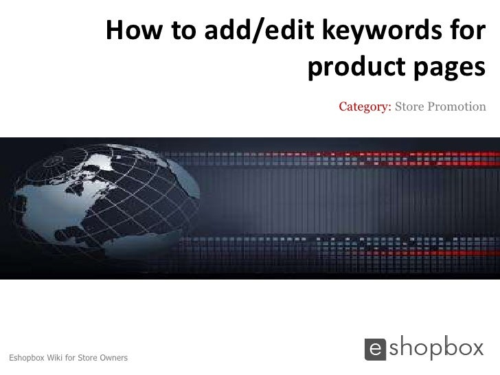 How to add/edit keywords for                                      product pages                                         Ca...