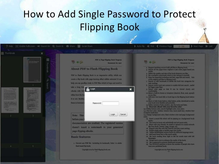 How to add single password to protect flipping book
