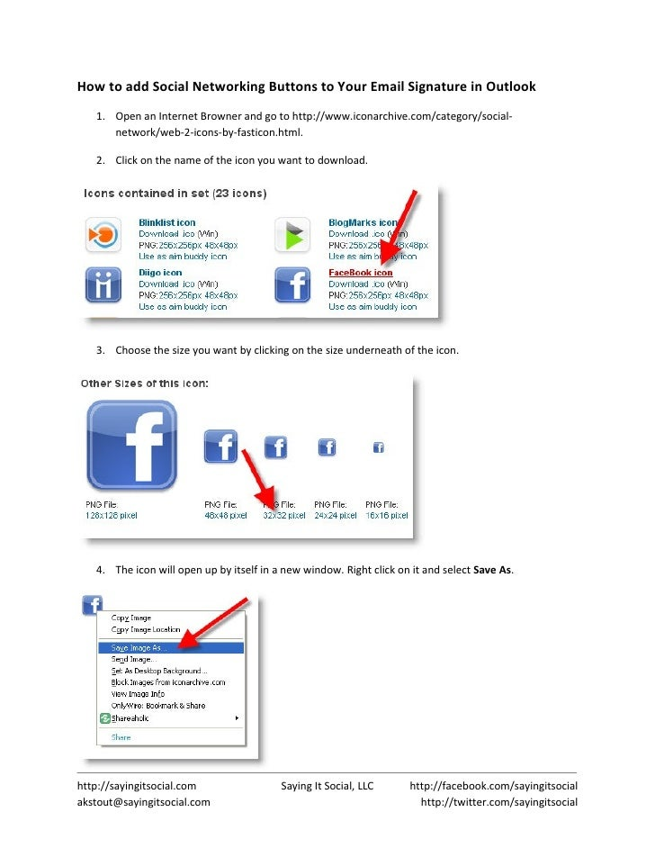 How To Add Social Networking Buttons To Your Outlook Email Signature