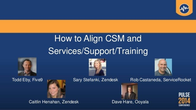How to Align CSM and Services/Support/Training Todd Eby, Five9 Caitlin Henahan, Zendesk Dave Hare, Ooyala Rob Castaneda, S...