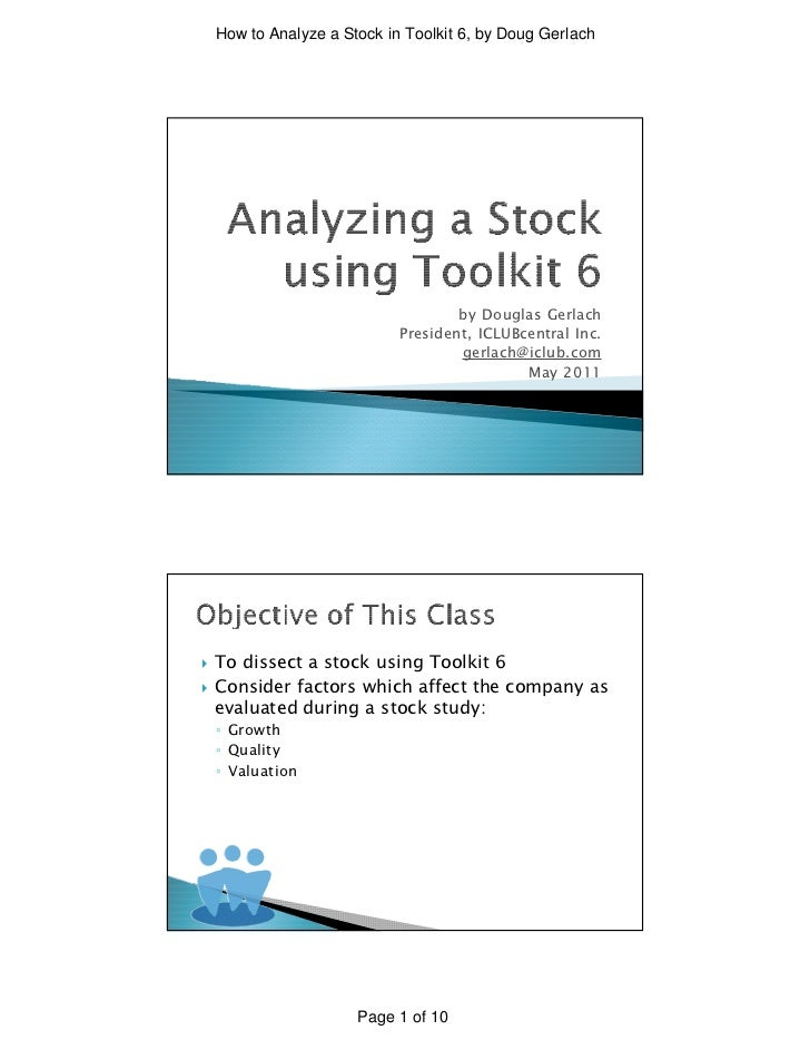 How to Analyze a Stock in Toolkit 6, by Doug Gerlach                                     by Douglas Gerlach               ...