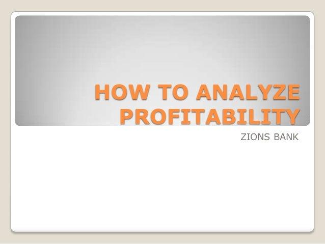 How to analyze profitability
