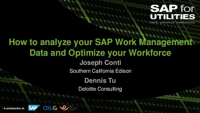 A collaboration of: How to analyze your SAP Work Management Data and Optimize your Workforce Joseph Conti Southern Califor...