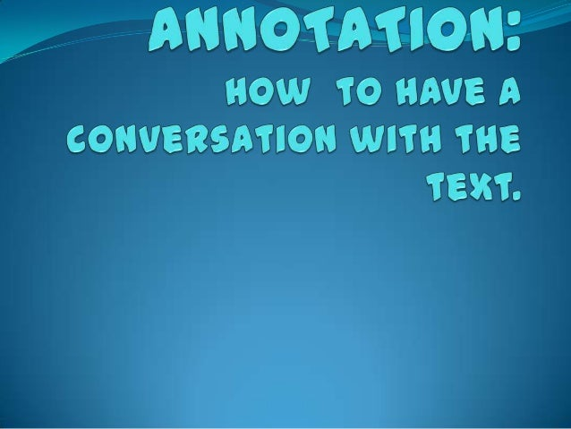 How to annotate non fiction text