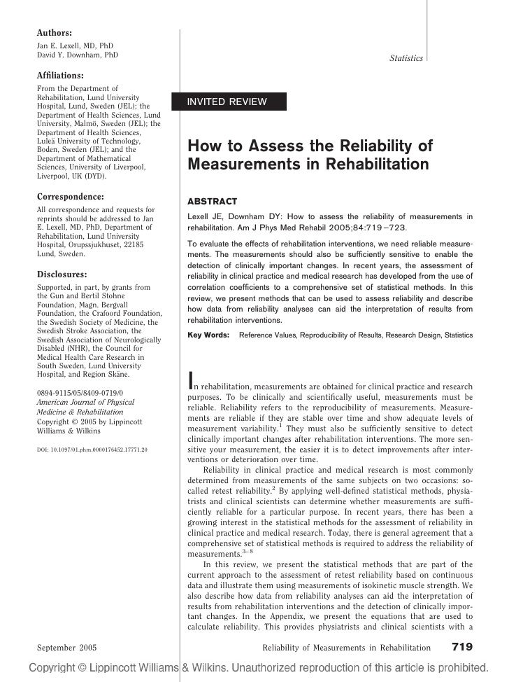 How to assess the reliability of measurements in rehabilitation