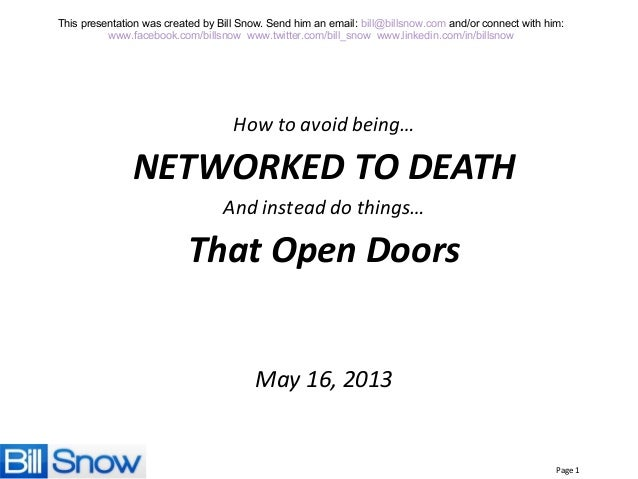 How to avoid being networked to death