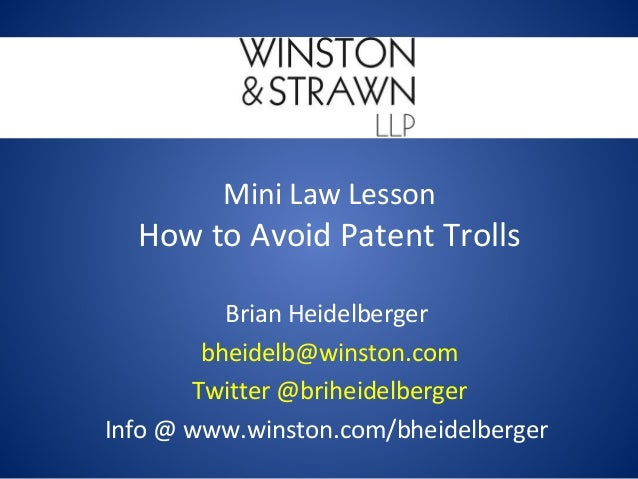 How to Avoid Patent Trolls - Mini Law Lesson