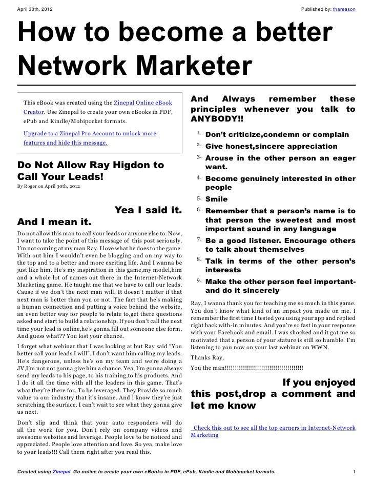How to become a better Network Marketer